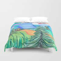 bigfoot Duvet Covers featuring Strolling bigfoot by liza salmon