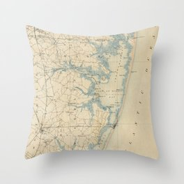 Vintage Map of Ocean City Maryland (1900) Throw Pillow