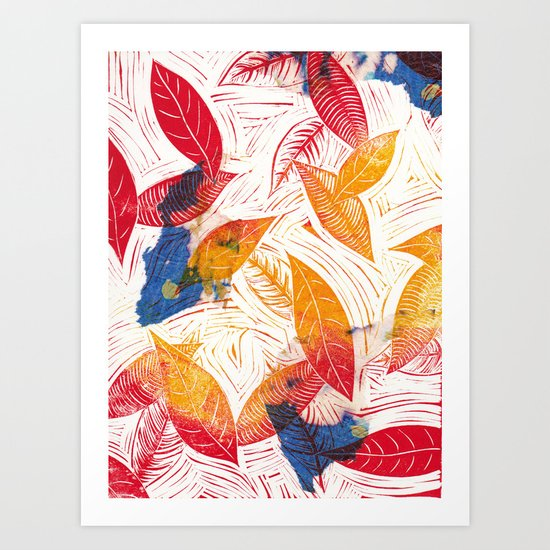 Chine Colle Falling Leaves Art Print