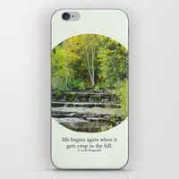 fitzgerald iPhone & iPod Skins featuring fall leaves + f scott fitzgerald by lissalaine