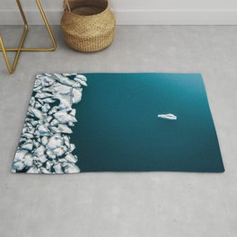 Minimalist Ice Bergs in the blue Ocean - Aerial Photography Rug