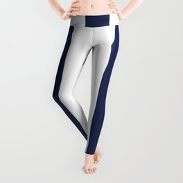 Space cadet blue - solid color - white vertical lines pattern Leggings