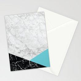 White Marble - Black Granite & Teal #871 Stationery Cards