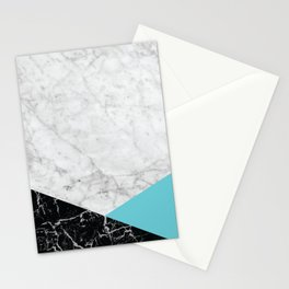 White Marble - Black Granite & Teal #871 Stationery Cards