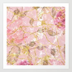 Gold and Roses 2 - A Love Pattern Art Print