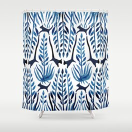 Cats & Palms Blue Shower Curtain