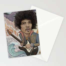 Jimi Hendrix - 11 Moons Played Across The Rainbows Stationery Cards