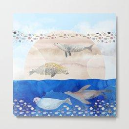Seals, Sand, Ocean - Surrealist Dreams Metal Print