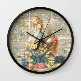 Vintage Alice In Wonderland on a Dictionary Page Wall Clock