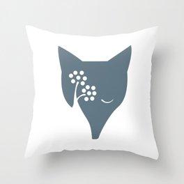 Arctic Fox and Rowan Tree Throw Pillow