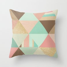 Peach, Mint and Gold Triangles Throw Pillow