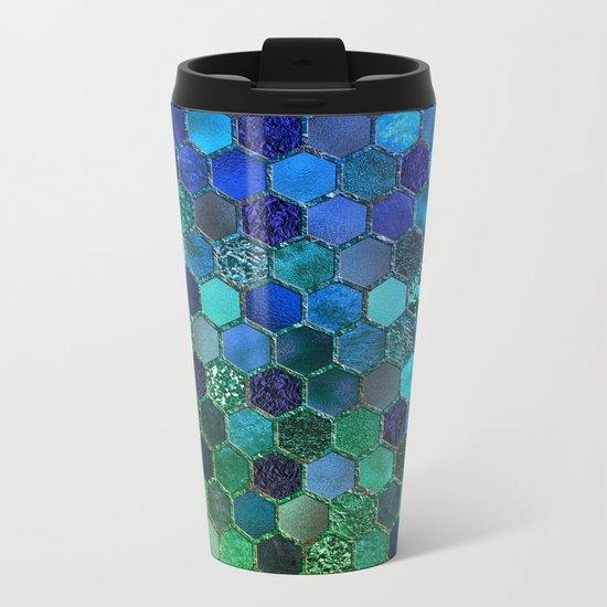Blue & green geometric hexagonal elegant & luxury pattern Metal Travel Mug