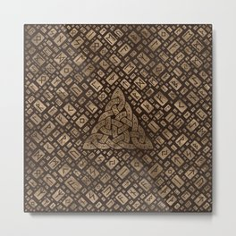 Triquetra and Runic Alphabet Wood and Gold #2 Metal Print