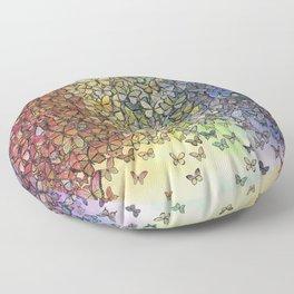 rainbow of butterflies aflutter Floor Pillow
