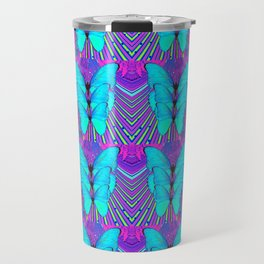 MODERN ART NEON BLUE BUTTERFLIES SURREAL PATTERNS Travel Mug
