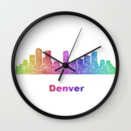 Rainbow Denver skyline Wall Clock