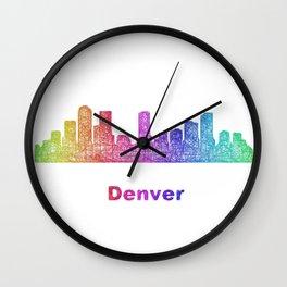 Rainbow Denver skyline Wall Clock