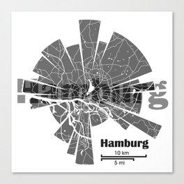 Hamburg Map Canvas Print