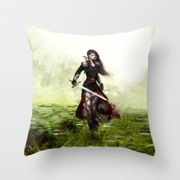 Lady knight - Warrior girl with sword concept art Throw Pillow