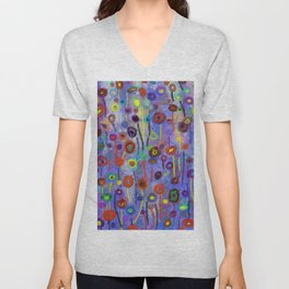 Abstract Flowers Wild Unisex V-Neck
