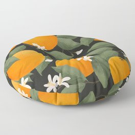 fresh citrus // dark Floor Pillow