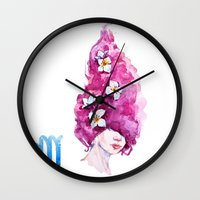 virgo Wall Clocks featuring Virgo by Aloke Design