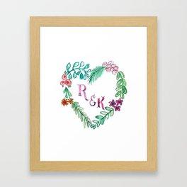 Custom Heart Wreath R & K Framed Art Print