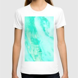Shimmery Sea Green Turquoise Marble Metallic T-shirt