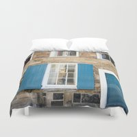 doors Duvet Covers featuring Teal Doors by Ashley Williamson