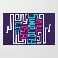 risa rodil Area & Throw Rugs featuring All Simplicity is a Lie by Risa Rodil