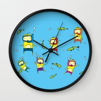 scuba Wall Clocks featuring Scuba Scuba by Steph Chen