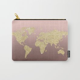 Gold Glitter on Rose Gold World Map Art Carry-All Pouch
