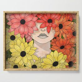 Flower Garden Girl Serving Tray