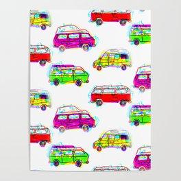 Hipster Camper Van Design Poster