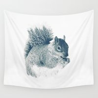 squirrel Wall Tapestries featuring squirrel by Peg Essert