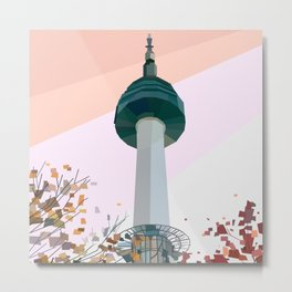 Geometric N Seoul Tower, South Korea Metal Print