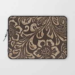 Gold & Brown Flowered Tooled Leather Laptop Sleeve