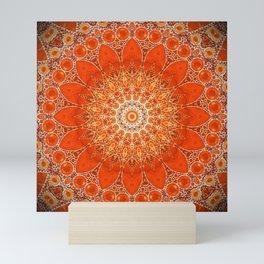 Detailed Orange Boho Mandala Mini Art Print
