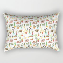 watercolor vinyl records and cacti Rectangular Pillow