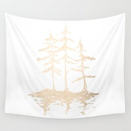 Three Sisters Forest White Gold Trees Wall Tapestry