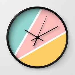 Tropical summer pastel pink turquoise yellow color block geometric pattern Wall Clock