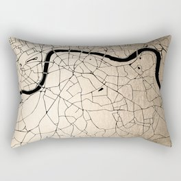 London Gold on Black Street Map II Rectangular Pillow