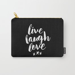 Live Laugh Love black and white monochrome typography poster design home wall decor canvas Carry-All Pouch