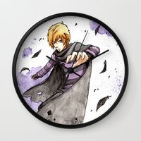 leon Wall Clocks featuring Leon by Owly Fa