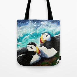 Puffins - Always together - by LiliFlore Tote Bag