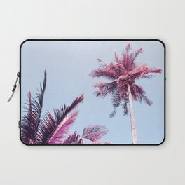Pink Coco Palm Trees on Blue Sky Tropical Summer Poster Laptop Sleeve