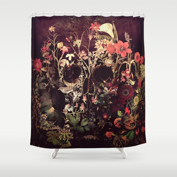 Bloom Skull Shower Curtain by aligulec | Society6