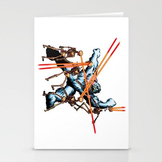Yeti vs. Laser Skeletons Stationery Cards