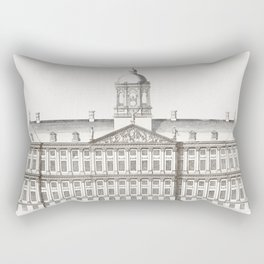 The City Hall in Amsterdam by an anonymous maker (1696-1706) Rectangular Pillow