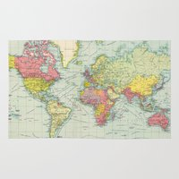 political Area & Throw Rugs featuring Vintage Political Map of The World (1922) by BravuraMedia